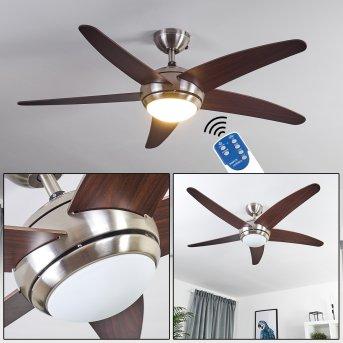 IMON ceiling fan matt nickel, Dark wood, 1-light source, Remote control
