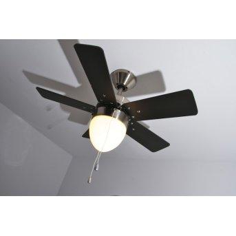 Globo MARVA fan matt nickel, grey, stainless steel, white, 1-light source