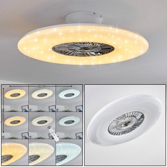 PETROVAC ceiling fan LED chrome, white, 1-light source, Remote control