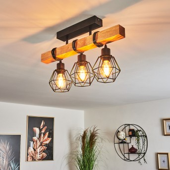 BARBENGO Ceiling Light black, light wood, 3-light sources