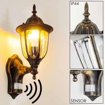 Ribadeo Outdoor Wall Light black-gold, 1-light source, Motion sensor