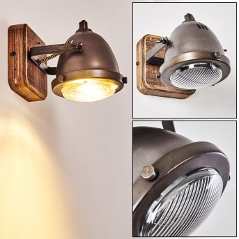 GLOSTRUP Wall Light stainless steel, brown, 1-light source