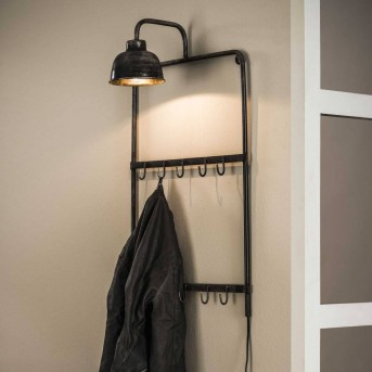LEENS Coat rack black, grey, 1-light source