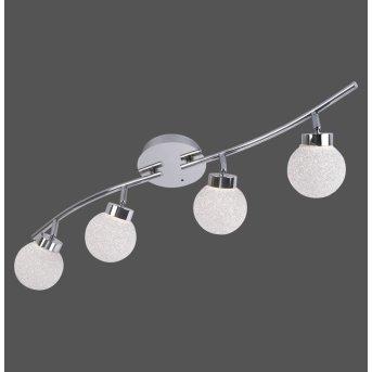 Leuchten Direkt MIKO Ceiling Light LED chrome, 4-light sources, Remote control, Colour changer