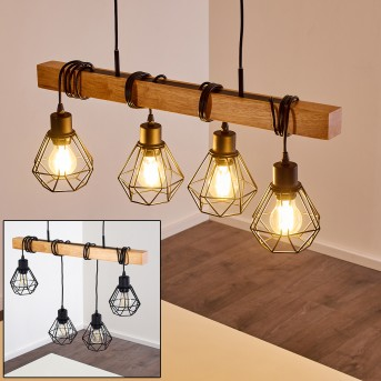 BARBENGO Pendant Light black, light wood, 4-light sources