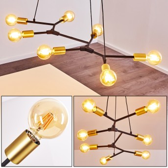 Coppet Pendant Light black-gold, 7-light sources