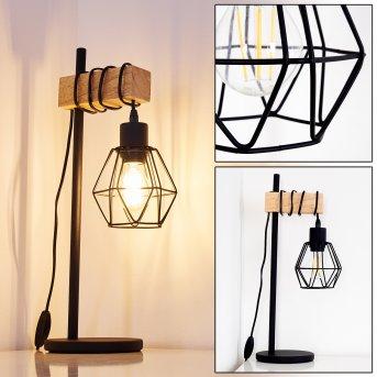 BARBENGO Table Lamp black, light wood, 1-light source