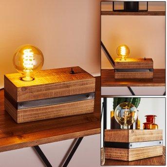 MONTGOMERY Table lamp black, Dark wood, 1-light source