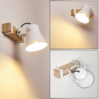 OKSBOL Wall Light white, Dark wood, 1-light source