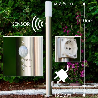 Caserta outdoor floor lamp stainless steel, 1-light source, Motion sensor