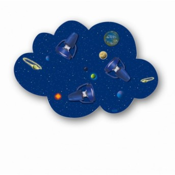 Waldi Wolke Weltall ceiling light blue, 3-light sources