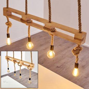 Riekje Pendant Light black, brown, Light wood, 4-light sources