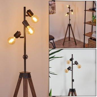 MONTGOMERY Floor Lamp black, Dark wood, 3-light sources