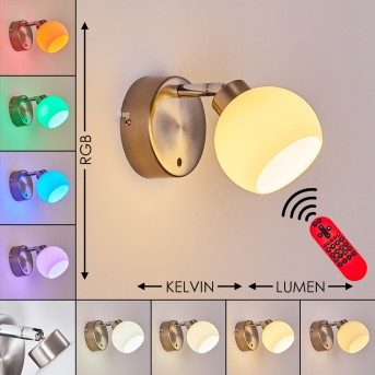 Motala Wall Light LED matt nickel, 1-light source, Remote control, Colour changer