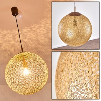 VIGRA Pendant Light brown, gold, 1-light source