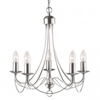 Chandelier Searchlight MAYPOLE silver, 5-light sources