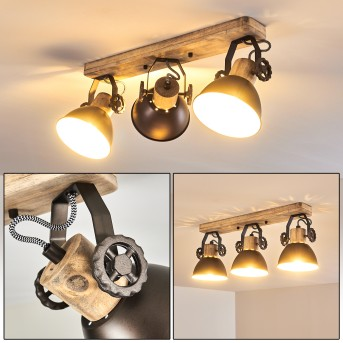 Ceiling Light Orny anthracite, Light wood, 3-light sources