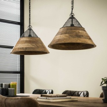 NIEUWEBRUG Pendant Light dark wood, 2-light sources
