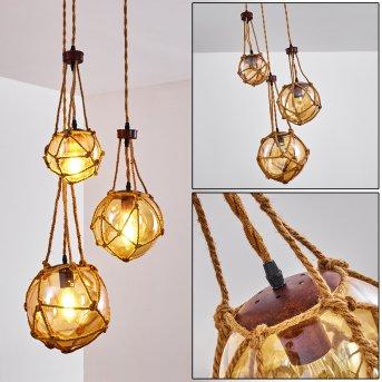 Pendant Light Eslov rust-coloured, brown, 3-light sources