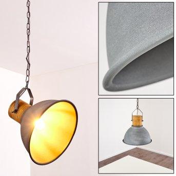 KINZUA Pendant Light grey, Light wood, stone appearance, 1-light source