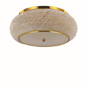 Ideal Lux PASHA Ceiling Light gold, Crystal optics, 10-light sources