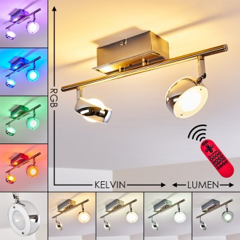 Isone Ceiling Light LED stainless steel, 2-light sources, Remote control, Colour changer