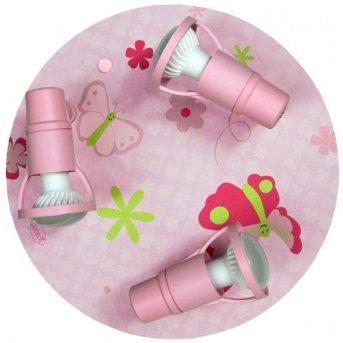 Waldi Papillon ceiling light pink, 3-light sources