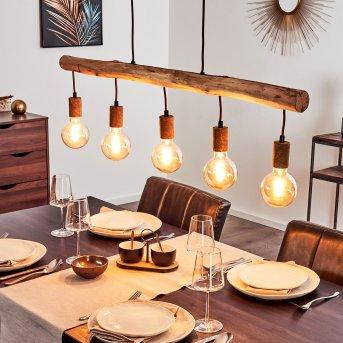 Pendant Light Gondo rust-coloured, brown, 5-light sources