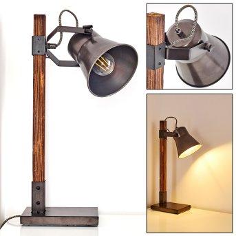 OKSBOL Table Lamp grey, dark brown, brushed steel, 1-light source