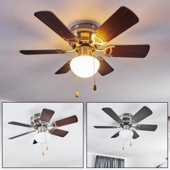 TRILLO ceiling fan matt nickel, grey, Light wood, 1-light source