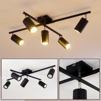 Ceiling Light Zuoz chrome, black, 5-light sources