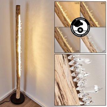 Bansberia Floor Lamp LED black, Light wood, 1-light source