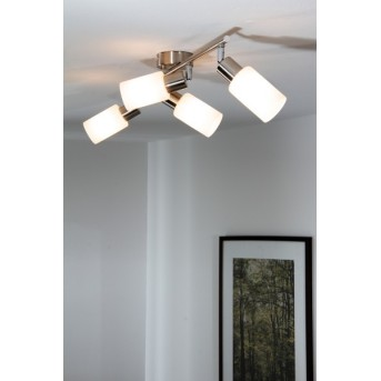 Reality ceiling spotlight stainless steel, white, 4-light sources