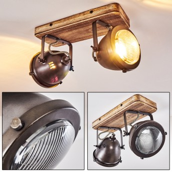 Ceiling Light Glostrup stainless steel, brown, 2-light sources